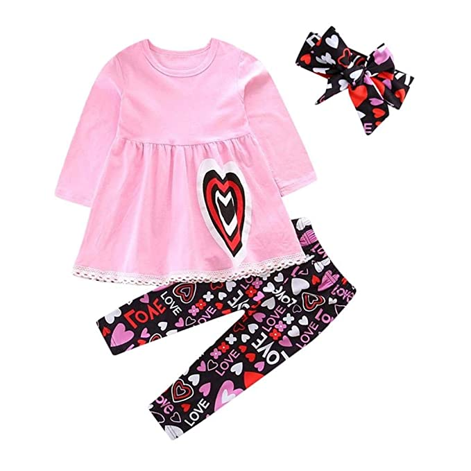 30a3f9bd6 Amazon.com: C&M Wodro Baby Girls 3Pcs Clothing Set Valentine's Day 1-5T  Love Heart Dress + Pants + Headband: Clothing