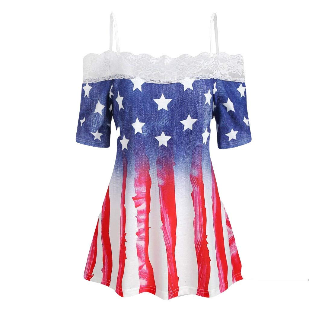 Women American Flag Tank Top Vintage Lace Cami Top Stars and Stripes Print Short Sleeve T Shirt July 4th Tunic Blouse Top