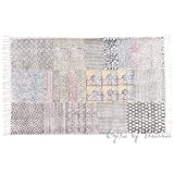 Eyes of India - 3 X 5 ft Colorful White Cotton Block Print Area Accent Overdyed Dhurrie Rug Flat Weave Woven Boho Chic Indian Bohemian
