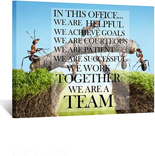 Kreative Arts Canvas Quotes Office Inspirational Sayings Words Wall Decor Teamwork Definition Motivational Quotes Ants Constructing Bridge Poster Prints Ready To Hang 24x32inch Posters Prints
