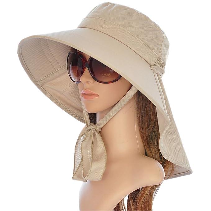 Ladies Sun Visor Wide Large Brim Swimming Beach Sun Hat (Beige) at ... f3b523ba966