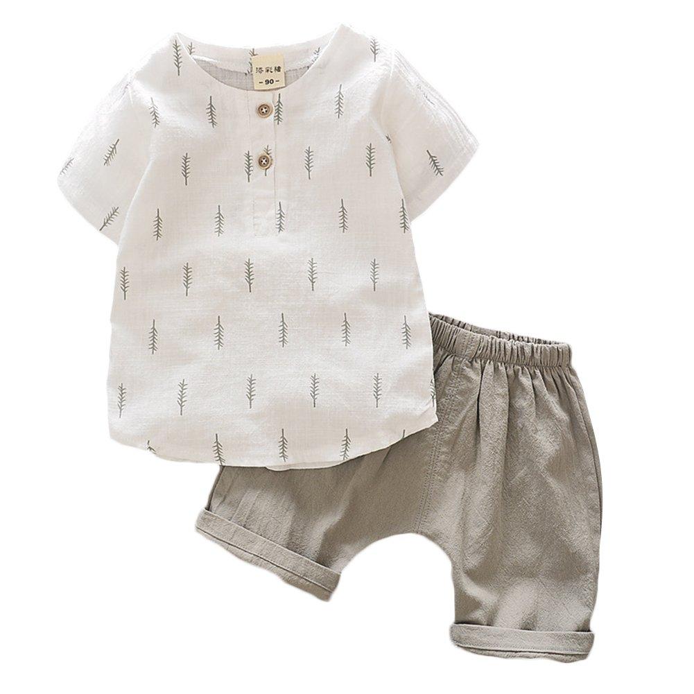Luerme 2-piece Shirt Shorts Set for Baby Boy Cotton and Linen Short-sleeved Shirt Set