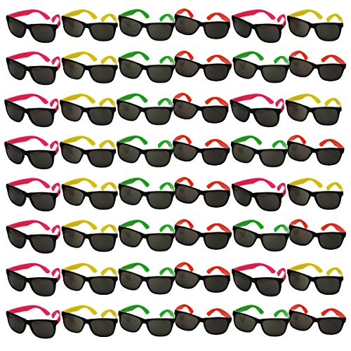 48 Pair Neon Party Toy 80's Sunglasses by Funny Party - Wholesale Sunglasses Cheap