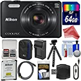 Nikon Coolpix S7000 Digital Camera (Black) + 64GB Card + Case + Battery + Charger + Tripod + Strap + Kit + Deluxe DigitalAndMore Accessory Bundle (included)