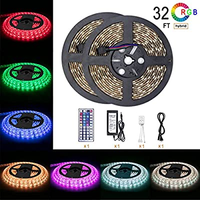 Led Strip Light Waterproof 32.8ft 10m Waterproof Flexible Color Changing RGB SMD 5050 600leds LED Strip Light Kit with 44 Keys IR Remote Controller and 12V 5A Power Supply