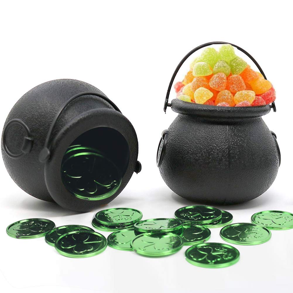 FuturePlusX Mini Black Candy Cauldron Kettles, 2PCS Plastic Candy Kettles Party Decoration Supplies for St. Patricks Day with 50 Plastic Gold Clover Coins