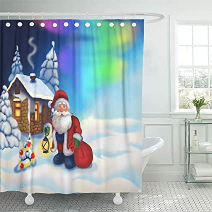 Emvency 72quotx78quot Shower Curtain Waterproof Bathroom Home Decor Christmas With Santa Claus And