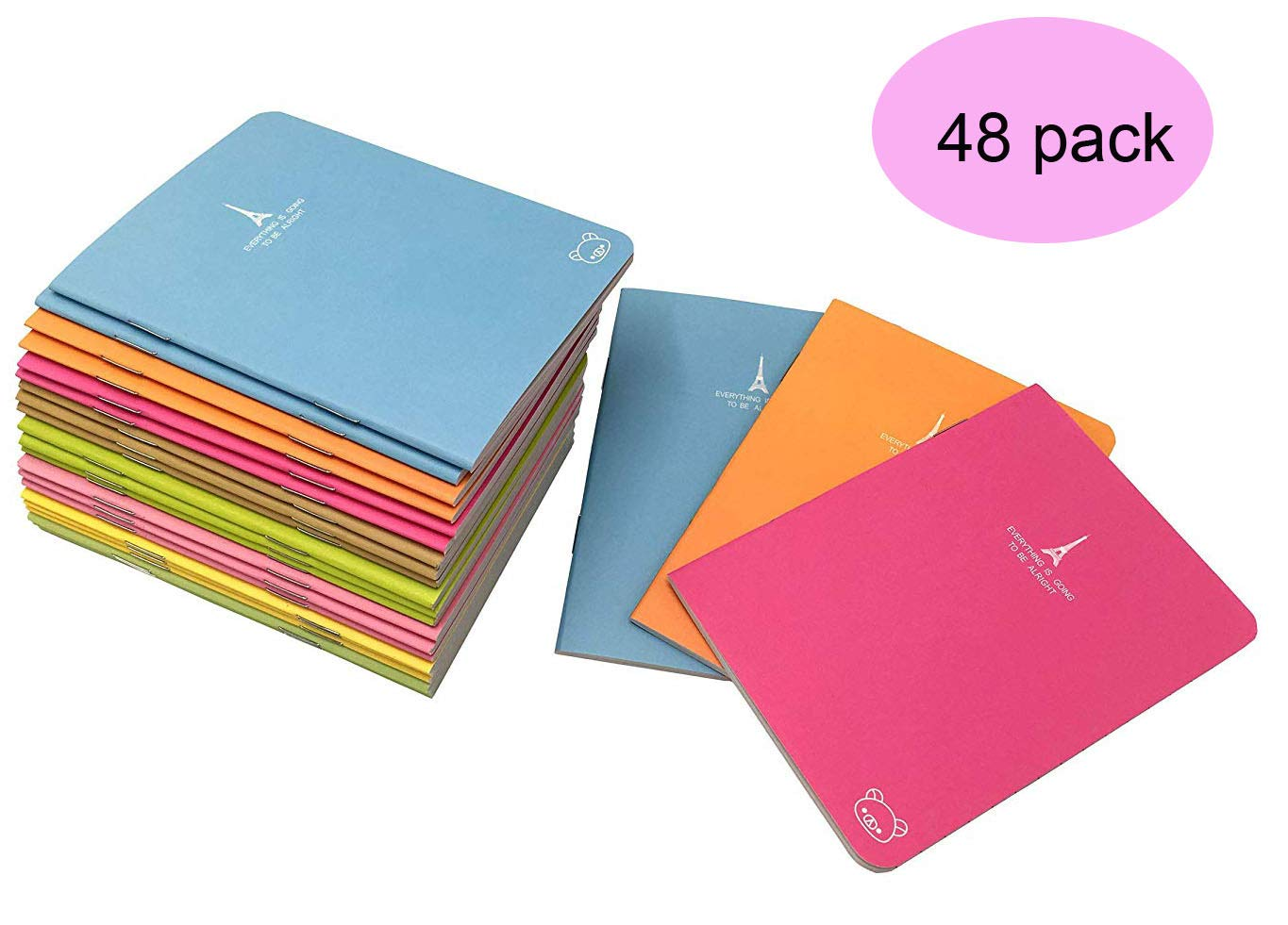 Pack of 48 Pocket Notebook Set (3.5'' x5 '') Candy Colors Portable Pocket Pal Super Mini Journals Portable Steno Note Books Mini Notepads(48pcs) by Yansanido
