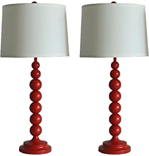 Urbanest Stacked Ball Table Lamp With Linen Shade, Glossy Red, Set Of 2