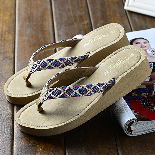 Playa Años Zapatos Zapatillas Las Antideslizantes De La de HAIZHEN Señoras 40 Verano mujer La La Sandalias zapatos Del De Gruesas Para Manera mujeres Para 3 Los Playa Mujeres De De 18 xqq4IO