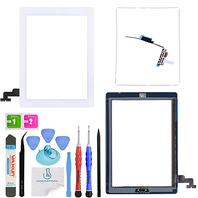 OmniRepairs Glass Touch Screen Digitizer Replacement with Home Button  Compatible for iPad 2 Model (A1395, A1396, A1397) with Adhesive Tape,  Midframe
