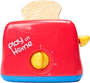 Toy Chef Play Kitchen Appliances – Premium Pretend Toaster for Kids– Red and Blue Themed Toddler Kitchen Accessories – Cool Present for Girls and Boys
