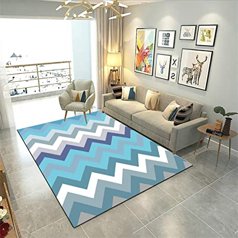 YAMTION Bedroom Rugs, 4\'x 6 Modern Multi-Function Area Rugs Collection, Non  Slip Abstract Wave Blue Soft Shaggy Carpet, Indoor Living Room Rugs in ...