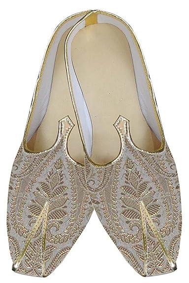 Mens Cream Indian Wedding Shoes Golden Design MJ0158