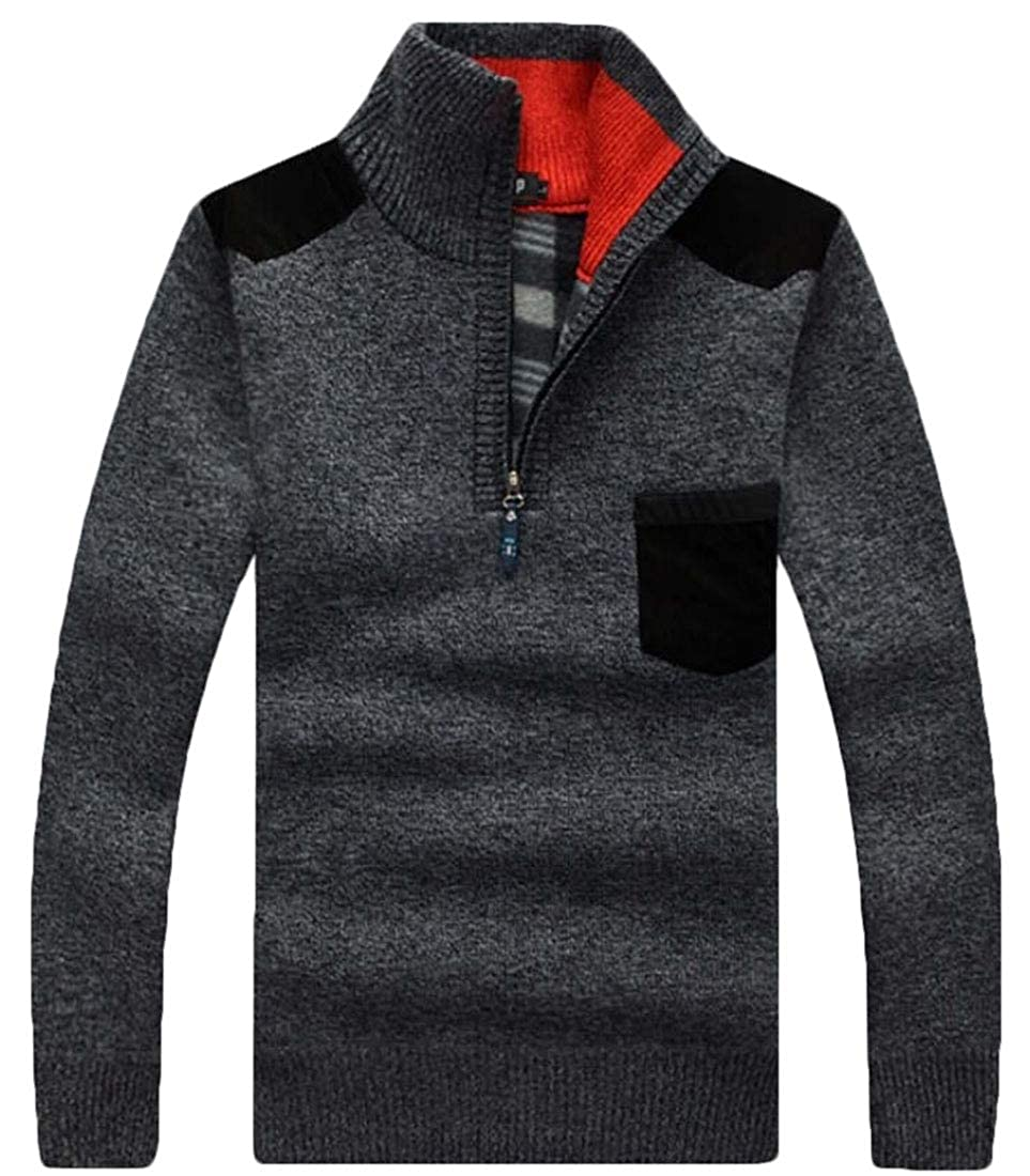 Yayu Mens Casual Quarter Zip Pullover Sweater Slim Fit Long Sleeve Sweaters