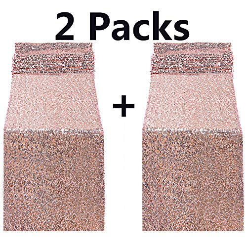 (FECEDY 2pcs 12 x 108inch Glitter Rose Gold Sequin Table Runner for Birthday Wedding Engagement Bridal Shower Baby Shower Bachelorette Holiday Celebration Party Decorations )