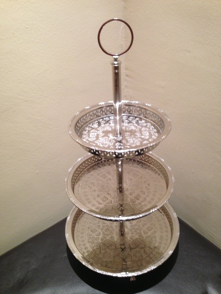 Authentic Handmade Moroccan 3 Tier Silver Plated Brass Hand hammered Cookies Tray Cake Stand Modern Design by Marrackech Decor (Image #2)