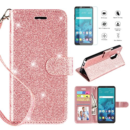 LG Stylo 4 Case 2018,LG Stylo 4 Phone Case Wallet Case w Screen Protector, Kickstand Card Slots Wrist Strap 2 in 1 Glitter Magnetic Flip PU Leather Wallet Cover Compatible LG Stylo 4 Plus,Rosegold