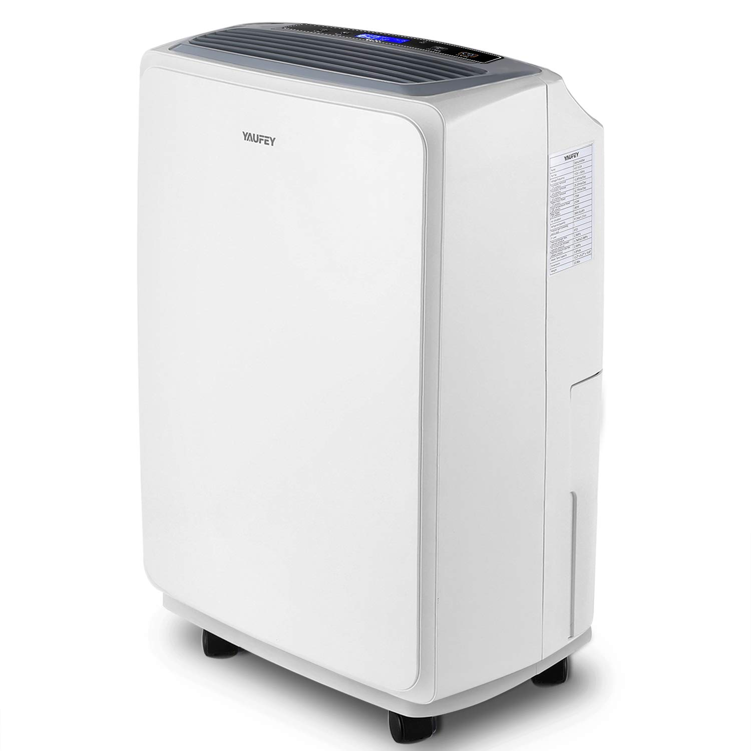 yaufey 30 Pint Dehumidifier for Home Basements Bedroom Garage, Mid-Size Portable with Continuous Drain Hose Outlet and Wheel, 4 Gallons/Day Intelligent Humidity Control for Space Up to 1500 Sq Ft by yaufey