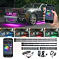 LEDGlow 4pc Bluetooth Million Color LED Underbody Underglow & 6pc Interior Footwell Accent Lighting Kit for Cars - Smartphone App - Courtesy Lights - Create Any Color - Control Box & Wireless Remotes