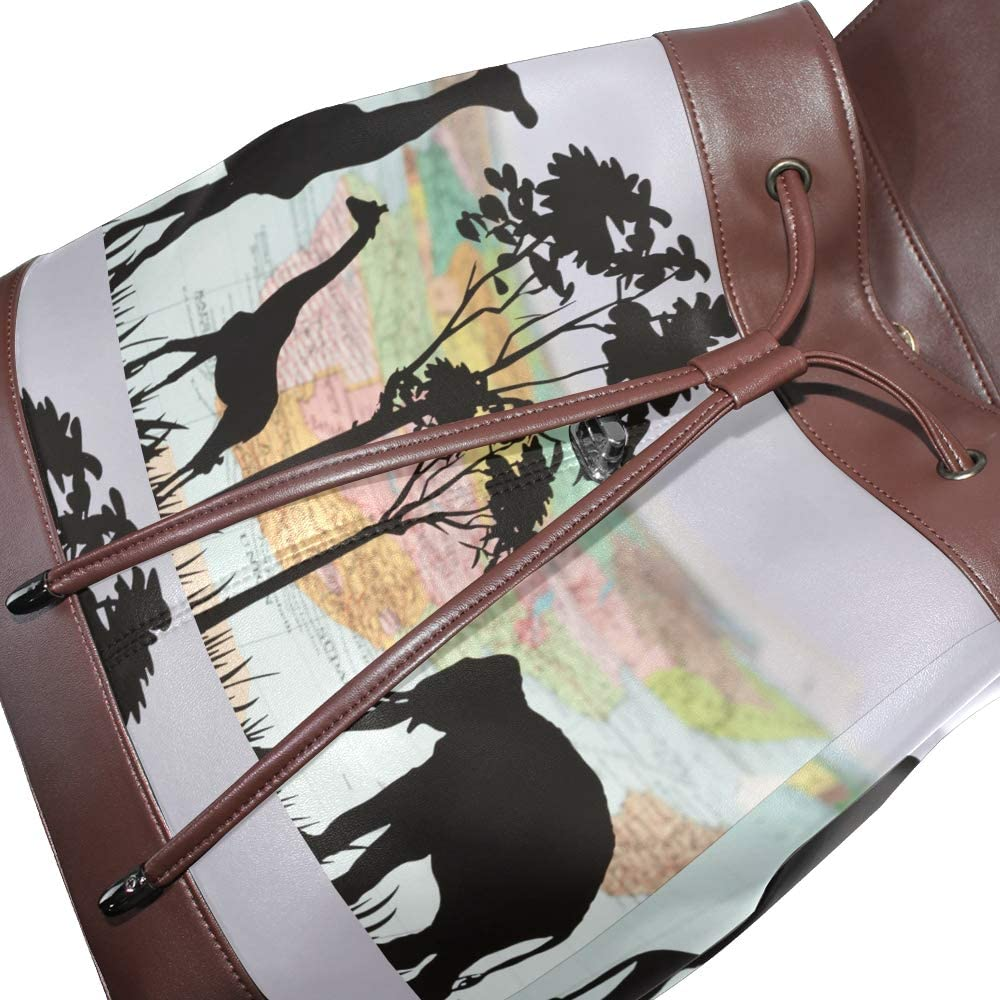 PU Leather Shoulder Bag,Elephant And Giraffe World Map Backpack,Portable Travel School Rucksack,Satchel with Top Handle
