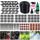Bluecookies 140 in 1 Irrigation System Kit 82FT, DIY Patio Plant Drip Irrigation Watering Kit, Garden Underground Irrigation System, with 1/4'' Distribution Tube Mister Nozzle Sprinkler for Lawn, Plants, Garden, Patio, Greenhouse