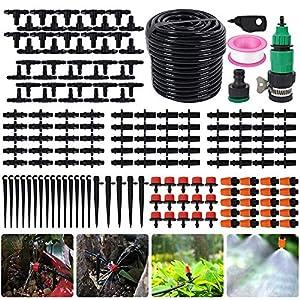 Bluecookies 140 in 1 Irrigation System Kit 82FT, DIY Patio Plant Drip Irrigation Watering Kit, Garden Underground…