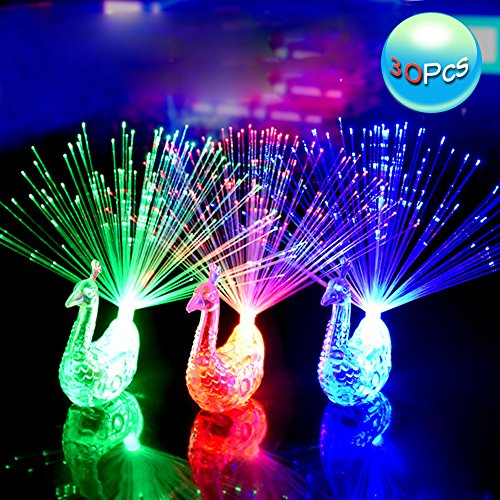 Cade 30 Pcs Creative Colorful Peacock Finger LED Light Ring for Parties Cheering Novelty Toys Gift For Kids
