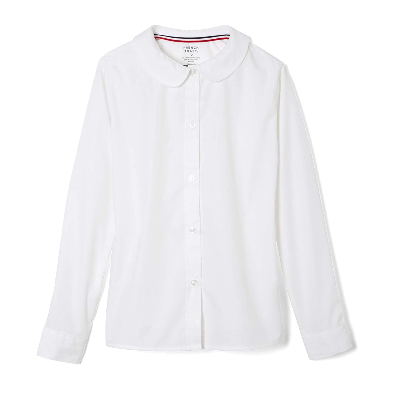 French Toast Big Girls Long Sleeve Peter Pan Collar Blouse White 12