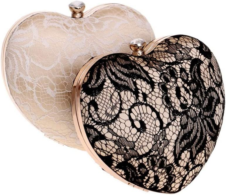 Ybriefbag Lady Messenger Tote Crossbody Evening Bag Womens Heart Lace Bag Dress Evening Bag Bridal Dance Party Tote for Women Girls Color : White