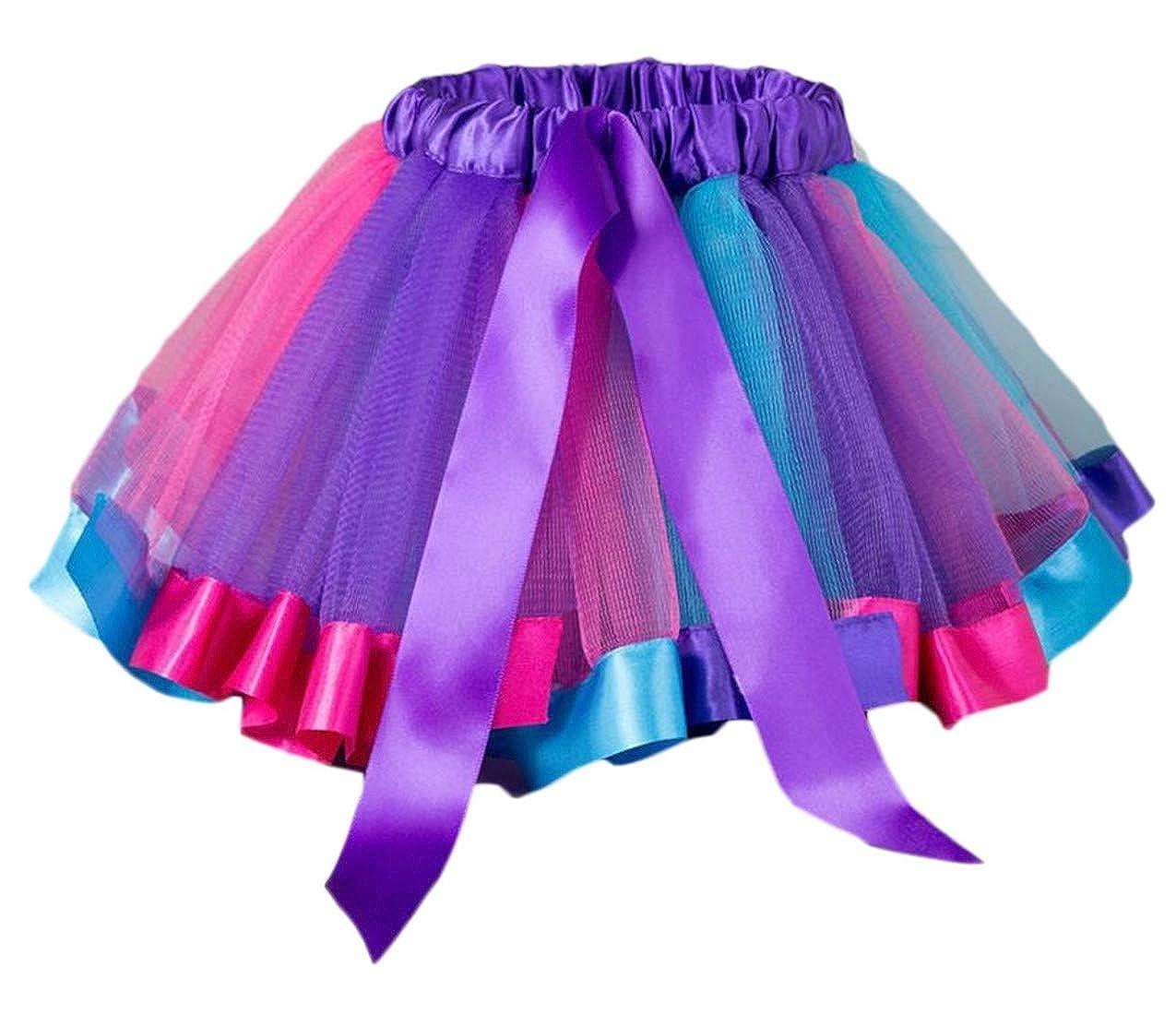 Etecredpow Girl Elastic Waist Bandage Simple Pleated Mesh Contrast Color Tutu Skirts