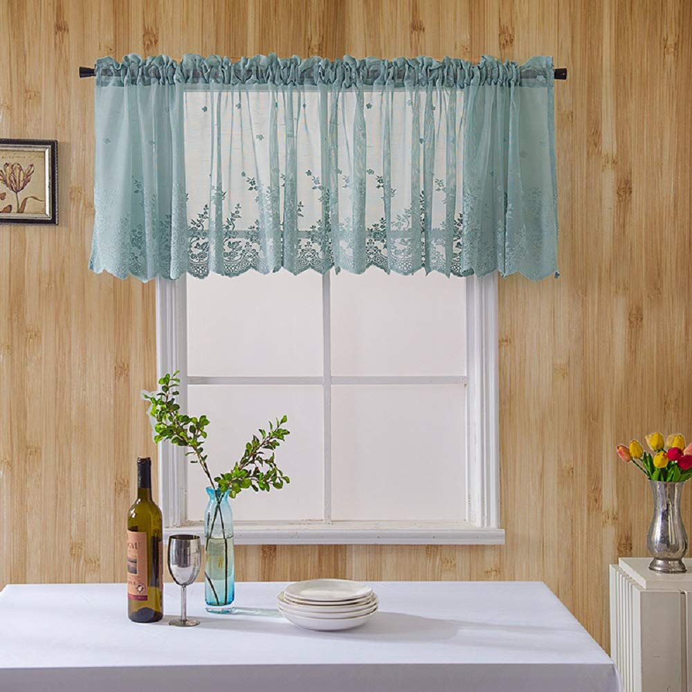 Clothink Rideau Brise-bise avec Passants 75x60cm Bleu