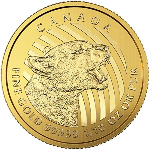 2016 CA Canada Growling Cougar - 1/10 Oz .9999 Gold Coin. 2nd in Series $20 Brilliant Uncirculated (Canada Mint Coin)