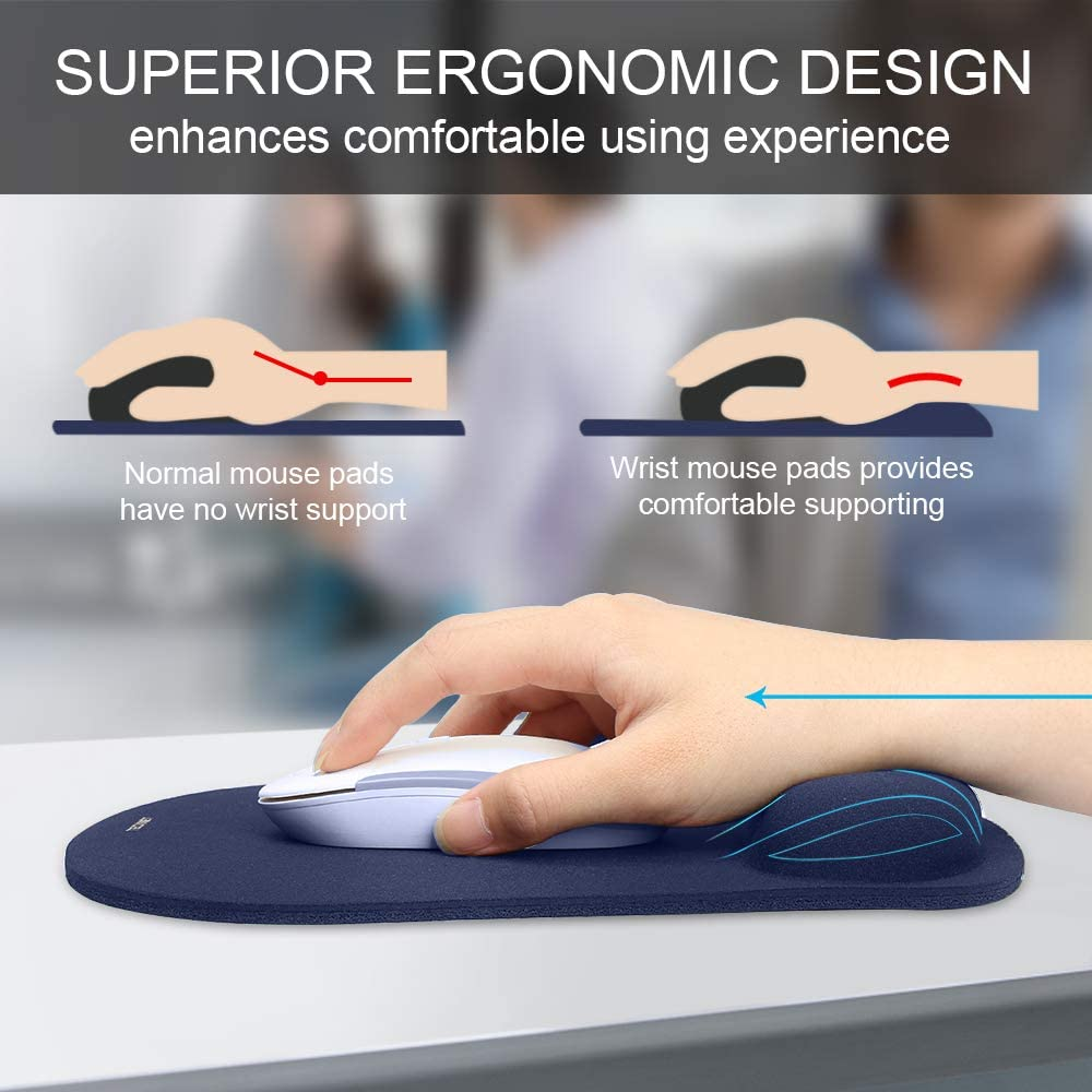 TeckNet Ergonomic Gaming Office Mouse Pad Mat Mousepad with Rest Wrist Support Special-Textured Surface Black Non-Slip Rubber Base
