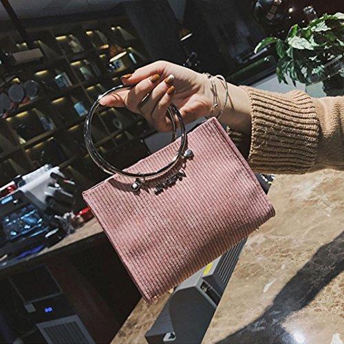 décoration de Sac le femmes de d'épaule main Sansee Rose de Sacs de à avec sac des laine bandoulière ronde Crossbody à mode 0f0qAv