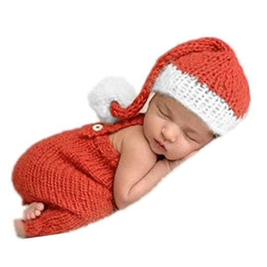 9b92e6d821f Image Unavailable. Image not available for. Color  Christmas Newborn Baby  Photo Prop Boy Girl Photo Shoot Outfits Crochet Knit Costume Photography  Props Hat