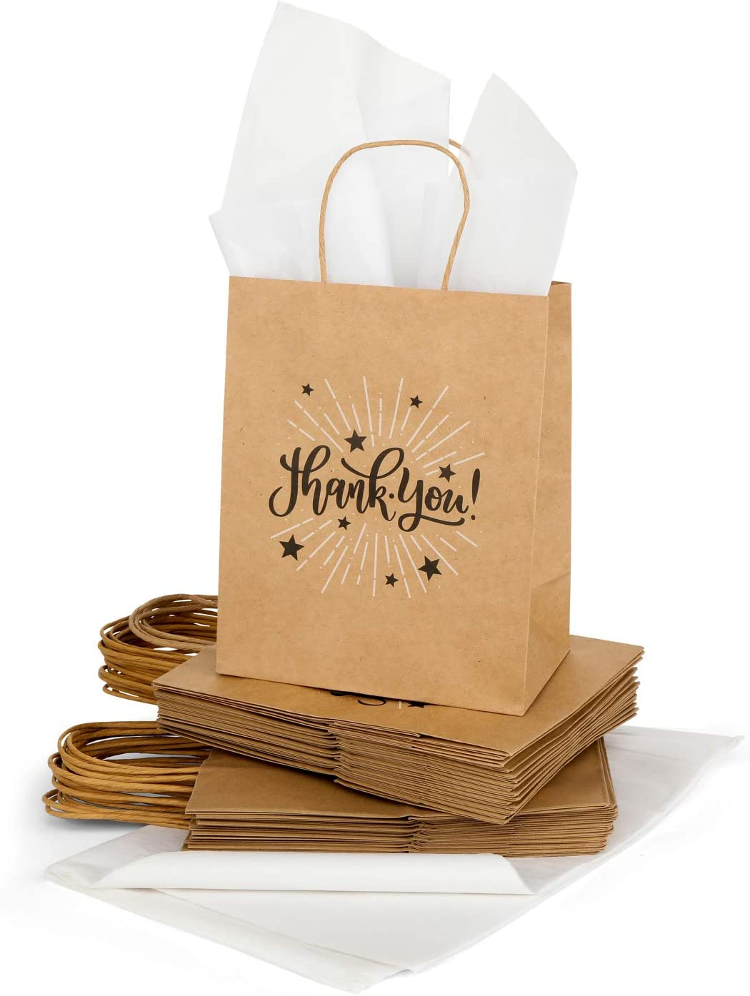 The Little Sapling | 50 Medium Thank You Gift Bags Bulk with Handle and Tissue Paper | Brown Kraft Paper Bags for Parties, Weddings, Shopping | Size 8x4.75x10 in, Tissue 20x26 in