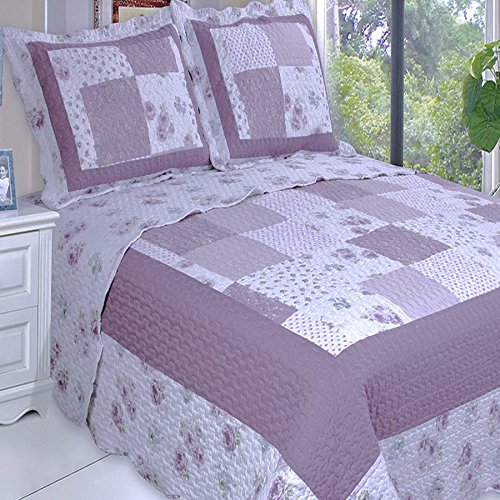 Quilt Coverlet Set Twin/Twin XL Single Size Purple Lavender Flowers Floral Patchwork (Single Face Quilted Cotton Fabric)