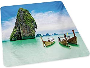 """Island Desk Chair mat, Limestone Rock in The Sea with Boats Tranquil Heaven Coast with Horizon Off Nature Photo, 30"""" x 47"""" Floor Mats Wood Protection Mat for Office & Home, Multi"""