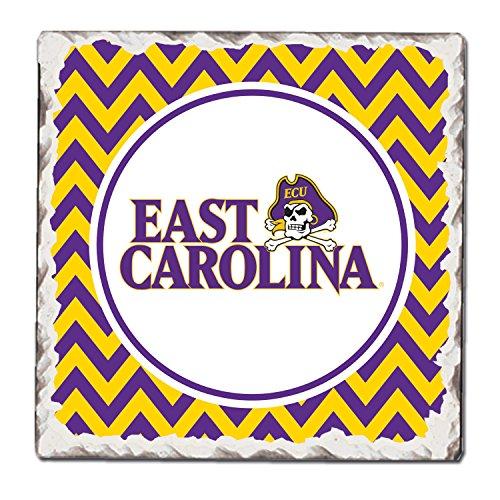 Absorbent Tumbled Tile Coasters, East Carolina Pirates (East Carolina Logo Square)