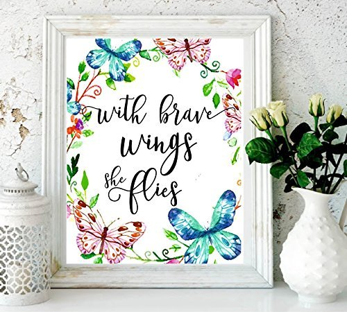 Butterfly Nursery Decor (Nursery Decor with Brave Wings She Flies Butterfly Wall Quotes Tropical Print Quote Print Watercolor Nursery Art Holiday Supplies Colorful Wall Art-Kids Room Decor Butterfly)