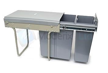 poubelle 2 bacs 30l ( 10l+20l) coulissant pour meuble de cuisine ... - Meuble Poubelle Cuisine