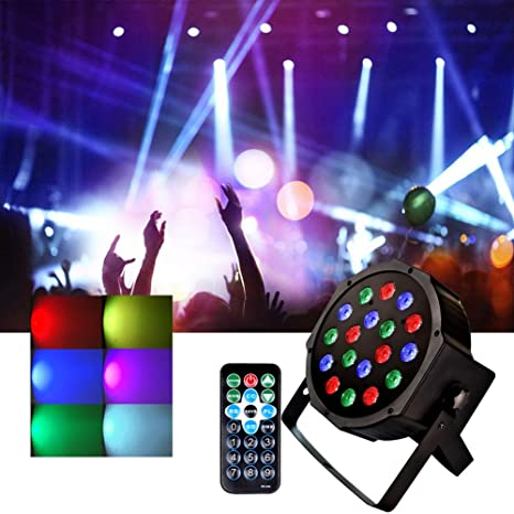 DJ Stage Lights 18 LEDs RGB Par Lighting- Sound Activated Up Lighting Disco  Party Lights Strobe Club Lights Controlled by Remote and DMX - Best for DJ
