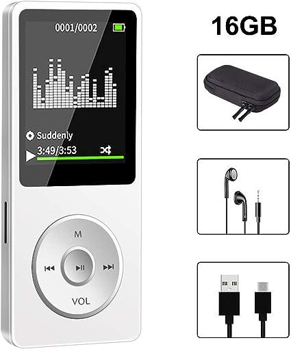 Lettore MP3 portatile da 16 GB con Bluetooth Lossless Hi-Fi lettore musicale con pulsante touch e schermo da 1,8 pollici altoparlante forte radio FM registratore vocale