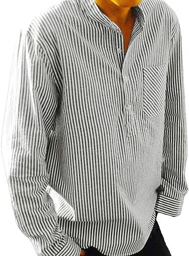 Camisa a Rayas para Hombre - Moda Manga Larga Loose Fit Camisas de Trabajo Hombres Primavera y Otoño Casual Shirts Tops: Amazon.es: Ropa y accesorios