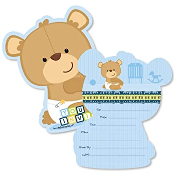 Baby Boy Teddy Bear Shaped Fill In Invitations Baby Shower Invitation Cards With Envelopes