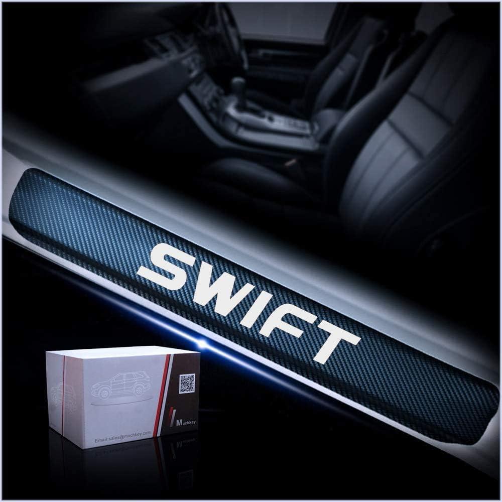 Barra Adhesivo Estilo de Fibra Carbono Placa antidesgaste Sucia XYWD Protector Kit umbral Puerta Ajuste Patada Bienvenida Estilo Decoraci/ón para estribos Entrada de Accesorio para Suzuki Swift