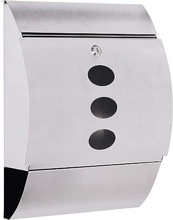 HOMCOM Buzon Correos Postal 31x11.5x41cm Acero Inoxidable + 2 Llaves Compartimento Periodico Correspondencia: Amazon.es: Hogar