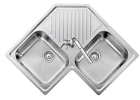 Lavello ad angolo acciaio inox satinato PLADOS REFRESH 8320 due ...