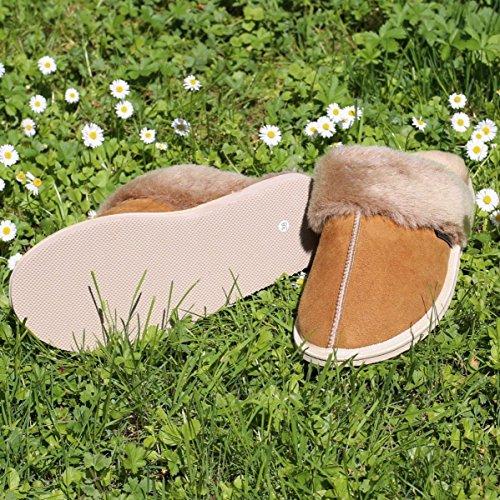 En Cuir Chaussons Laine Pantoufles Pocahontas Dames Chaussures Peau Hollert De Cognac Mouton zq6wfw